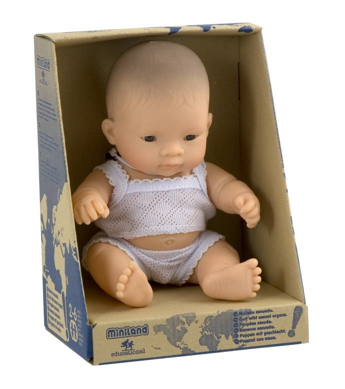 Miniland Educational 31125 Newborn baby doll asian boy- 21cm- 8 .2 in.Case