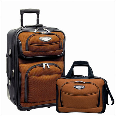 Travelers Choice TS6902O Amsterdam 2 Piece Carry-On Luggage Set in Orange