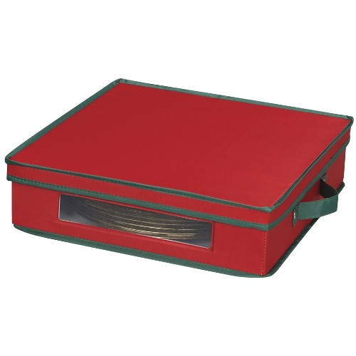Home Essentials 537RED Holiday Charger Plate Chest Red with Green trim