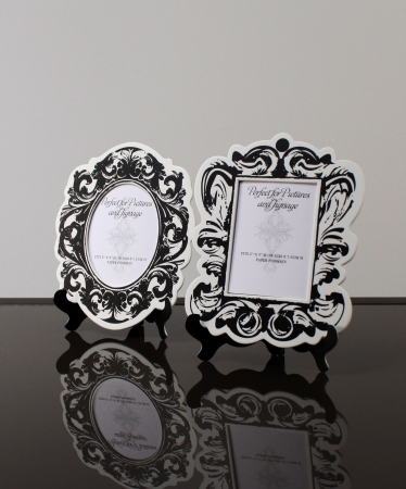 Wedding Star 9141-10 Baroque Paper Frames with Table Easels- Small- Small- Black and White