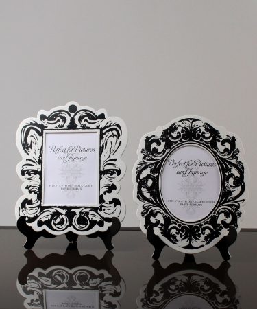 Wedding Star 9142-10 Baroque Paper Frames with Table Easel- Large- Large- Black and White