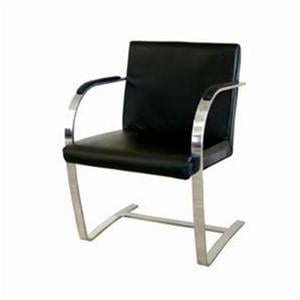 Wholesale Interiors 383 Stylish Stainless Steel Flat Leather Arm Chair