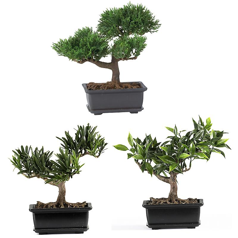Nearly Natural 4122 8.5 inch  Bonsai Silk Plant Collection- Set of 3 - Green