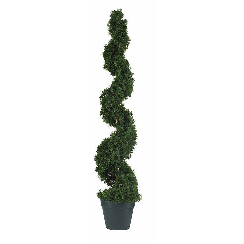 Nearly Natural 5076 Cedar Spiral Silk Tree 4 - Green