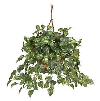 Nearly Natural 6517 Pothos Hanging Basket Silk Plant- Green