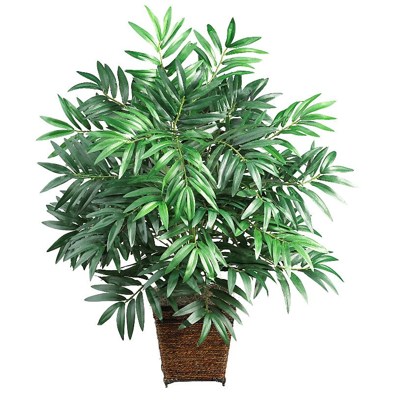 Nearly Natural 6556 Bamboo Palm with Wood Wicker Basket Silk Plant- Green