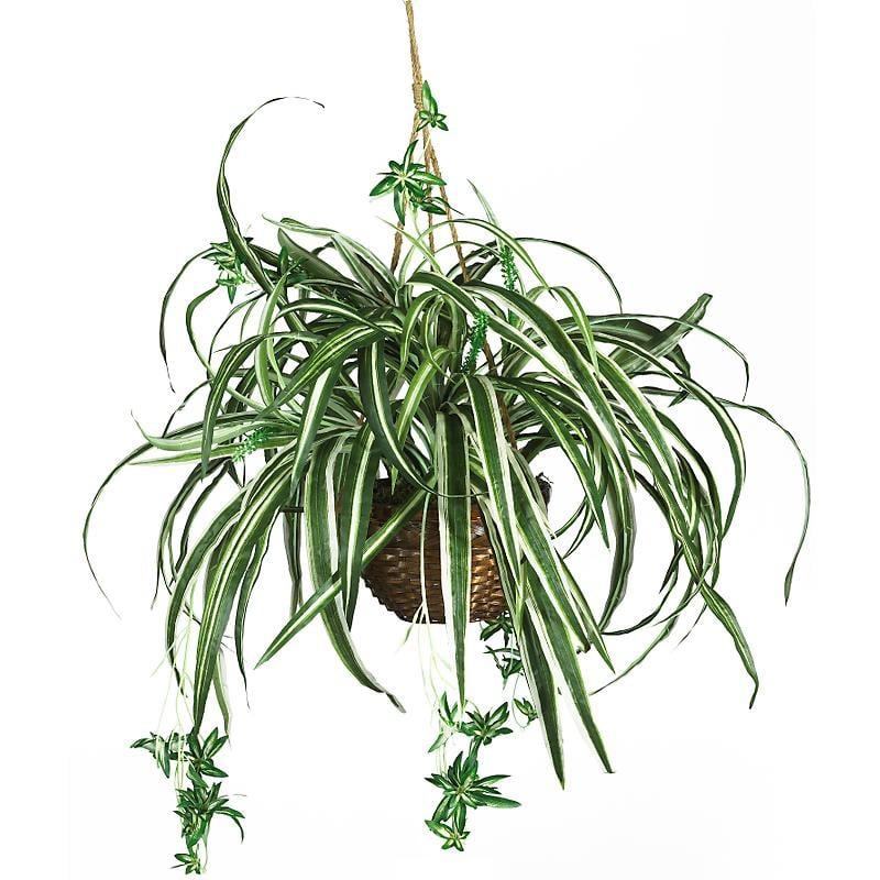 Nearly Natural 6607 Spider Silk Hanging Basket- Green