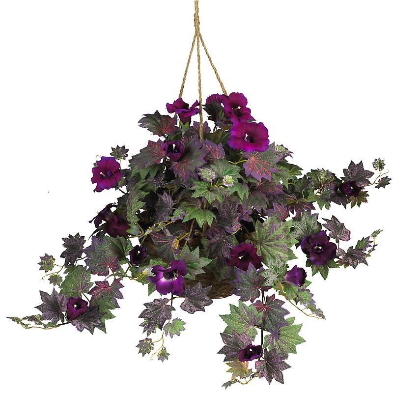 Nearly Natural 6610 Morning Glory Silk Hanging Basket- Purple