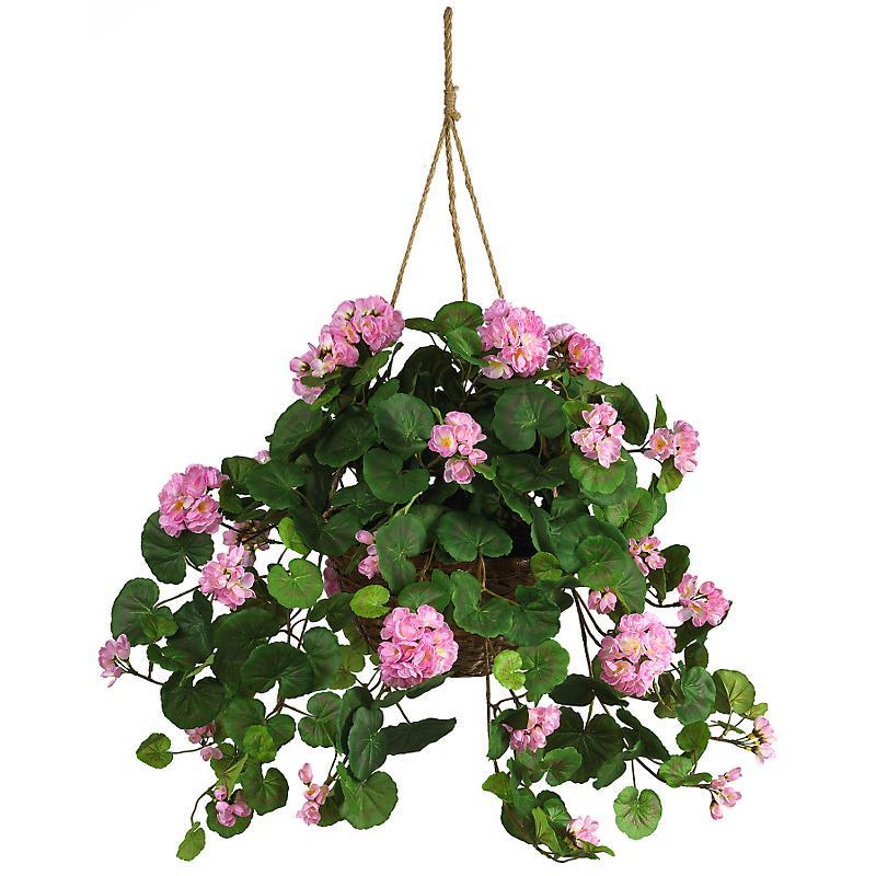 Nearly Natural 6609-PK Geranium Silk Hanging Basket- Fuchsia