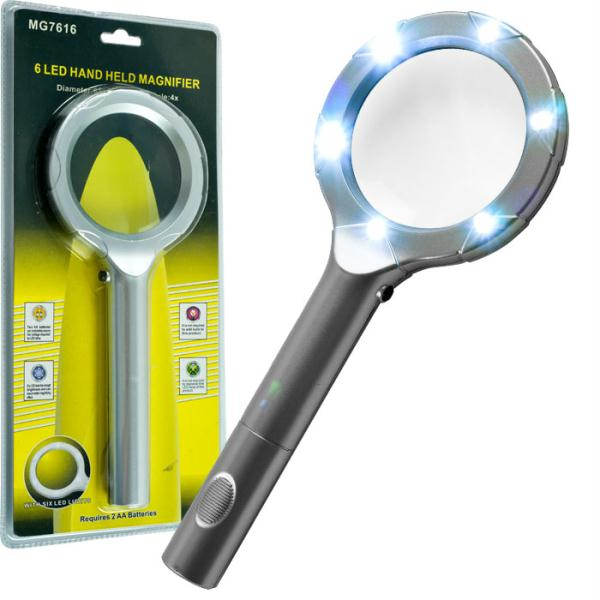 Super Bright 6 Led 4X Magnifying Glass