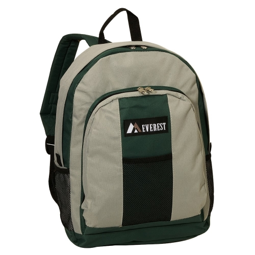 Everest BP2072-GN 17 in. Backpack with Front and Side Pockets