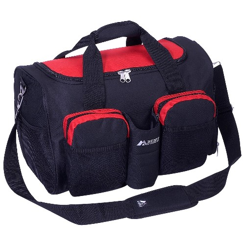 Everest S223-RD 18 in. 600 Denier Polyester Sports Duffel Bag with Wet Pocket