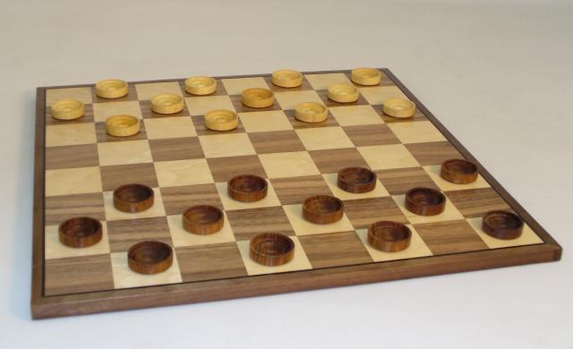 Chopra 3035-WC15 15 in. Wood Sheesham-Boxwood Checkers on Walnut-Maple Veneer Inlaid Board