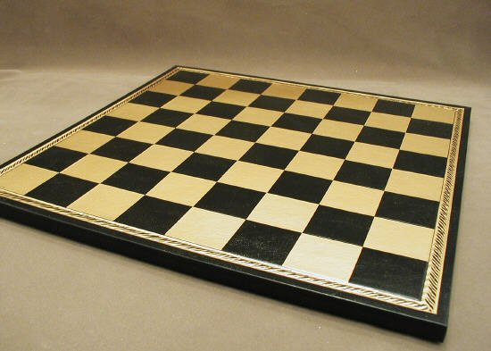 Ital Fama 202GN Pressed Leather Chess Board - Black and Gold