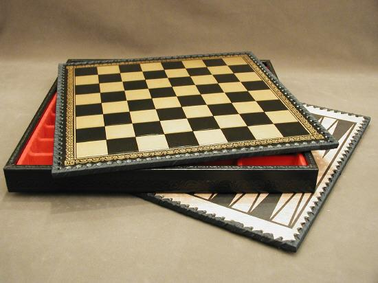 Ital Fama 219GN Black and Gold Pressed Leather Chess Chest