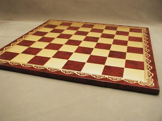 Ital Fama 203GR 18 in. Pressed Leather Chess Board - Burgundy and Gold