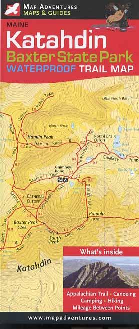 Map Adventures 103088 Baxter and Mt.Katahdin Waterproof Trail Book