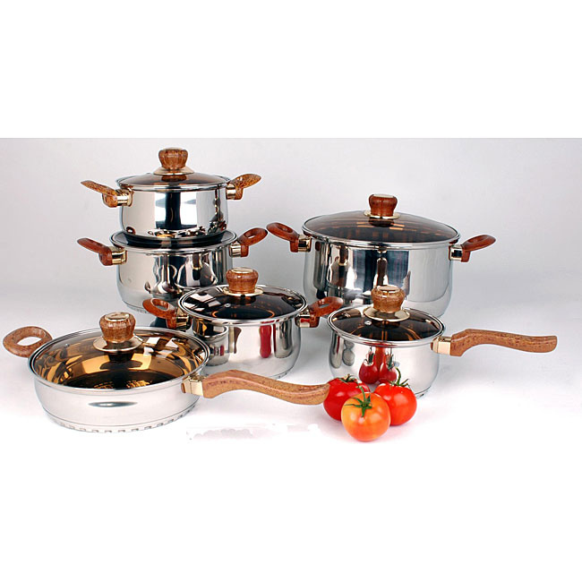 American Trading SC-SS004WD Gourmet Chef 12 Piece Brown Wood Cookware Set