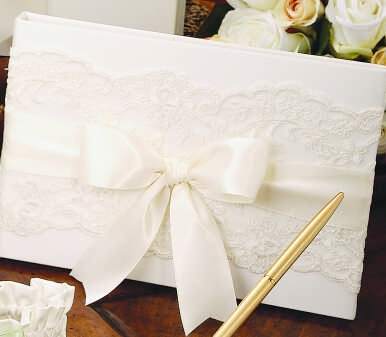 Ivy Lane Design A01235GB/IVO Chantilly Lace Guest Book in Ivory
