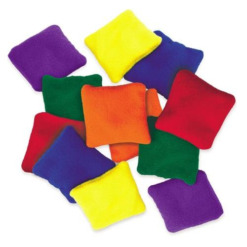 Everrich EVC-0025 5 x 5 Inch Fleece Square Beanbags - Set of 6 Colors