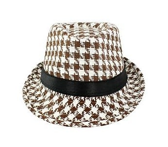 Faddism HAT57BNWHTPLD033 Faddism Fashion Hat Features Brown and White Plaid Design
