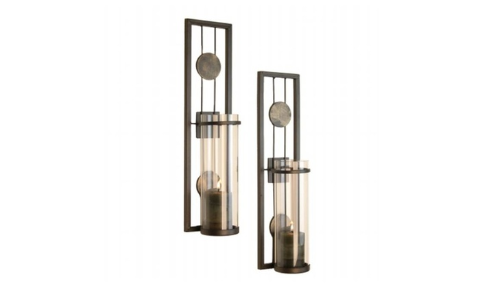 Danya B Qba636 Contemporary Metal Wall Sconce Set With Glass Insets