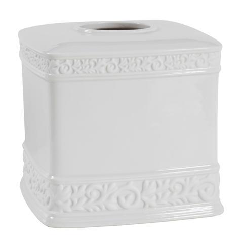 Creative Bath CMO58WH Cosmopolitan White Scroll Porcelain Boutique Tissue Box