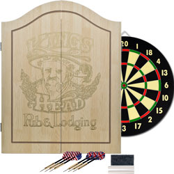 Trademark Poker 15-91004 TG Kings Head Value Dartboard Set - Light Wood