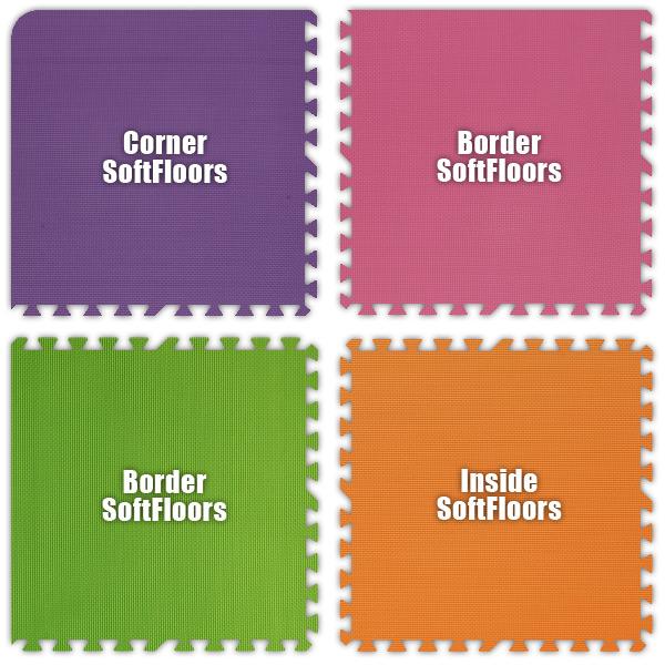 Alessco SFPEPKLGOE1010 SoftFloors -Purple- Pink- Lime Green- Orange -10  x 10  Set