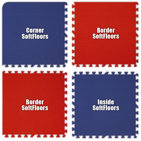 Alessco SFRBRD1010 SoftFloors -Royal Blue & Red Checkerboard -10  x 10  Set