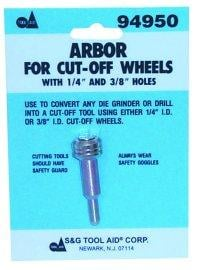 SG Tool Aid SGT94950 Arbor for Cut-Off Wheels with 1/4 and 3/8 Inch Center Holes