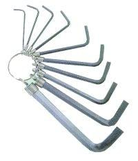 K Tool International KTI71420 10 Piece SAE Hex Key Set on a Ring