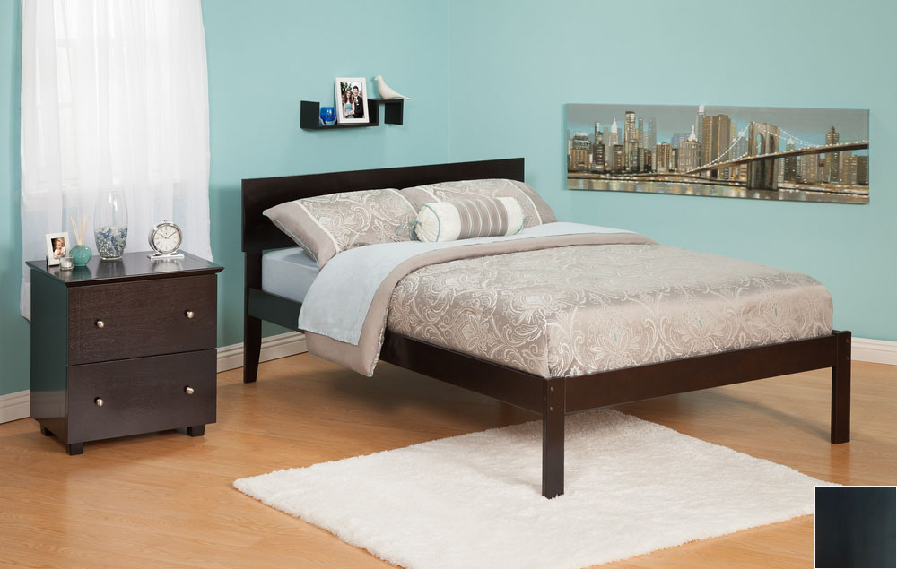 Atlantic Furniture AR8131001 Orlando Full Bed with Open Foot Rail in an Espresso Finish
