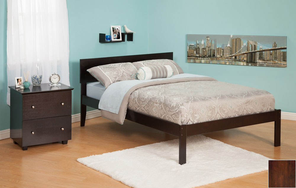 Atlantic Furniture AR8131004 Orlando Full Bed with Open Foot Rail in an Antique Walnut Finish