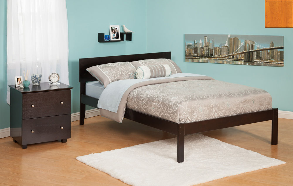 Atlantic Furniture AR8131007 Orlando Full Bed with Open Foot Rail in a Caramel Latte Finish