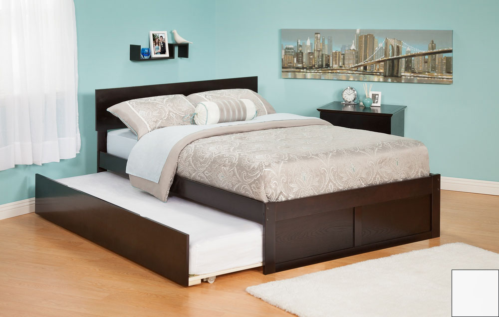 Atlantic Furniture AR8132012 Orlando Full Bed with Flat Panel Foot Board and Urban Trundle Bed in a White Finish