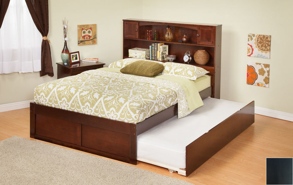 Atlantic Furniture AR8532011 Newport Bookcase Bed Full Size with a Flat Panel Foot Board and Urban Trundle Bed in an Esp