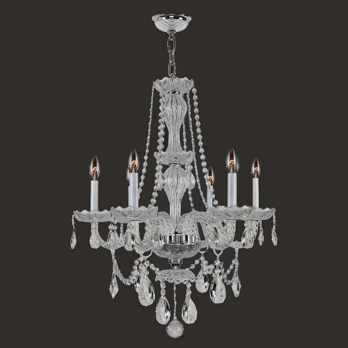 Worldwide Lighting W83096C23-CL Provence Collection 6 Light Chrome Finish with Clear Crystal Chandelier