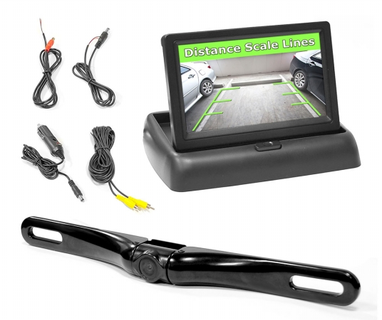 Sound Around-Pyle PLCM4500 4.3-Inch Pop-Up Stealth Monitor With License Plate Camera And Parking Assist System TBALL12805