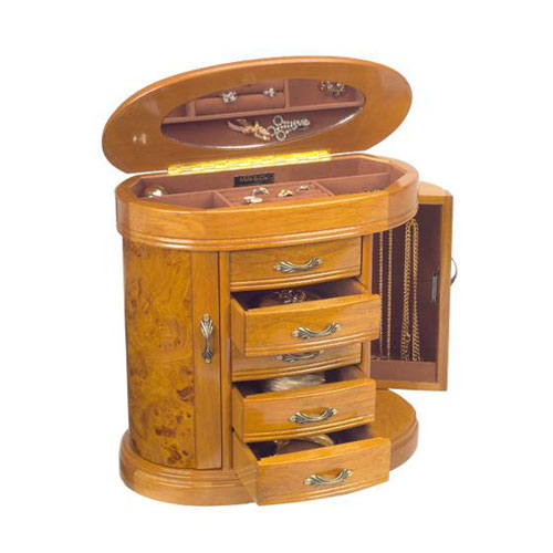 Mele & Co. 0079111  Trinity  Burlwood Oak Jewelry Box