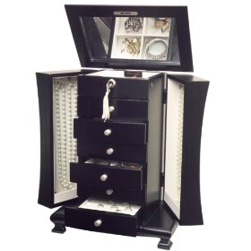 Mele 0086511  Layla  Upright Java Finish Jewelry Box with Necklace Doors