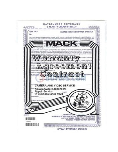 Mack Warranty 1082 Mack 3 Year TV Warranty - In Home - For TV's -Lcd & Plasma Over 32inch - With A Retail Value Of Up To $1250.00 -  Mack Worldwide Warranty