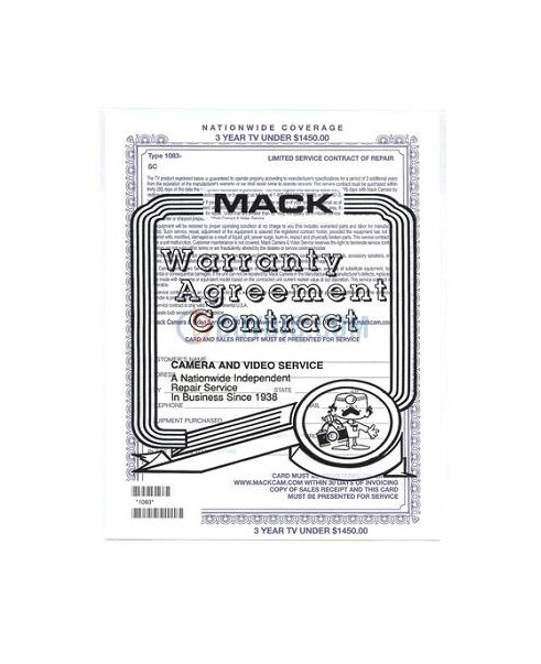 Mack Warranty 1083 Mack 3 Year TV Warranty - In Home - For TV's -Lcd & Plasma Over 32inch - With A Retail Value Of Up To $1450.00 -  Mack Worldwide Warranty