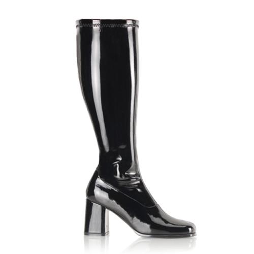 Funtasma Gogo-300X Black Str Pat Wide Width Gogo Boot 3 Inch Block Heel Size 8