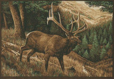 Custom Printed Rugs ELK ROAMING THE HIGH COUNTRY Elk Roaming The High Country Wildlife Rug
