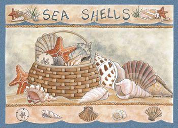 Custom Printed Rugs SEASHELLS Seashells Rug