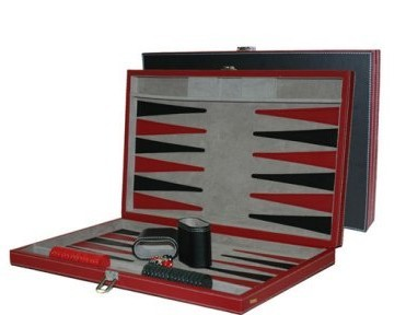 CHH 3042M 15 Inch Black and Red Leatherette Backgammon Set