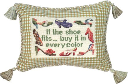 123 Creations C459.9x12 inch If the Shoe Fits Buy It  Petit Point Pillow - 100 Percent Wool
