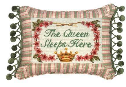 123 Creations C460.9x12 inch The Queen Sleeps Here Petit Point Pillow - 100 Percent Wool