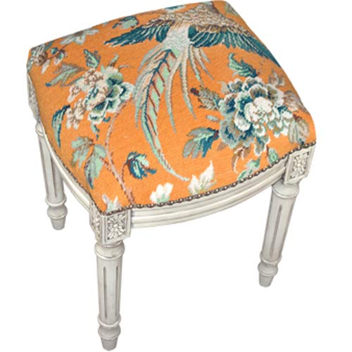 123 Creations C655WFS Bird in Orange Needlepoint Side Chairs in Antique White Wood - 100 Percent Wool